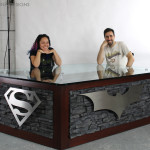 custom superhero desk for themed office reception area