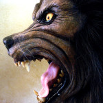 custom life size werewolf bust statue fangs and glass eyes