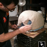 sculpting a Marshmallow Man head mask from Ghosbusters