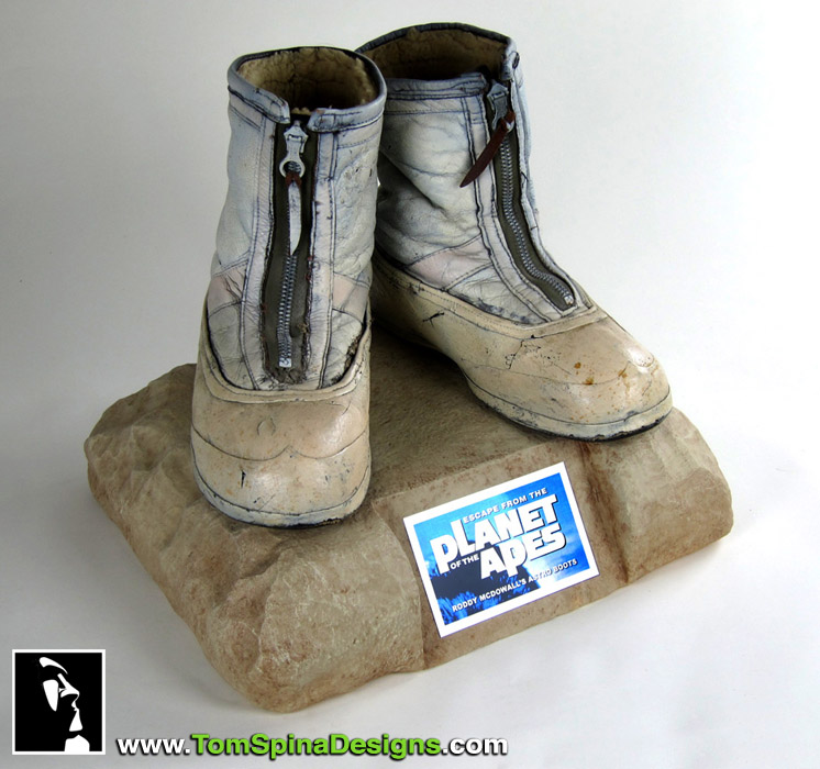 Escape from the Planet of the Apes movie prop Roddy McDowall boots display