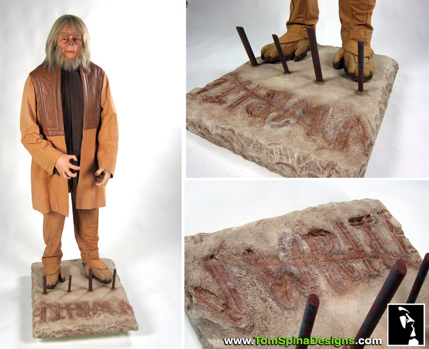 Planet of the Apes Costume Display Custom mannequin with themed base
