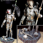 Predator costume display custom mannequin statue for movie costume with themed base