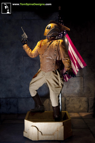 The Rocketeer movie costume lifesized custom mannequin statue helmet jetpack