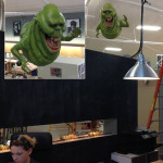 life sized movie prop statue of Slimer Ghost at Brick and Mortar