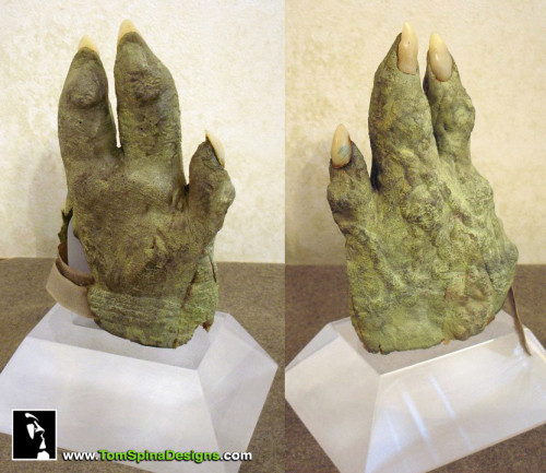 Yoda puppet hand, part of his costume conservation