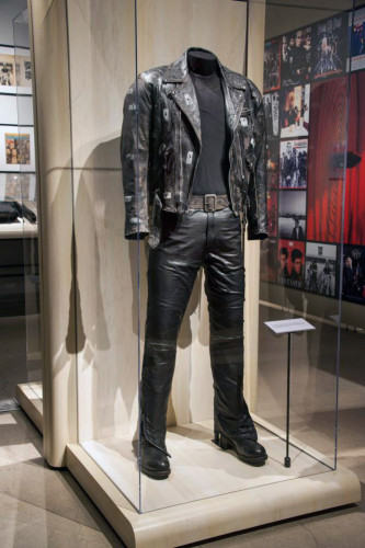 Terminator 2 movie costume display Arnold Schwarzenegger Jacket and Pants