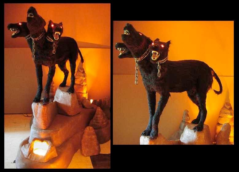 Cerberus Three Headed Dog Statue Custom foam carving, themed environments and decor