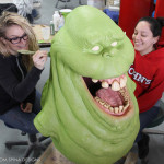 painting a life sized slimer movie prop statue
