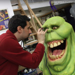 painting a lifesized slimer movie prop statue's eyes