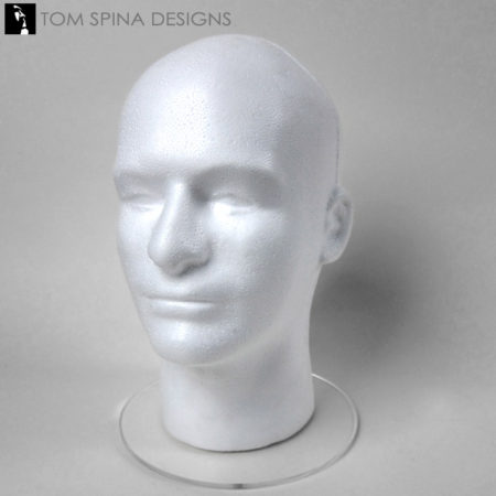 Male white mannequin foam display head
