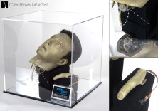 Star Trek Data props in mirrored acrylic display case