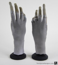 X-files alien props hands and latex mask display