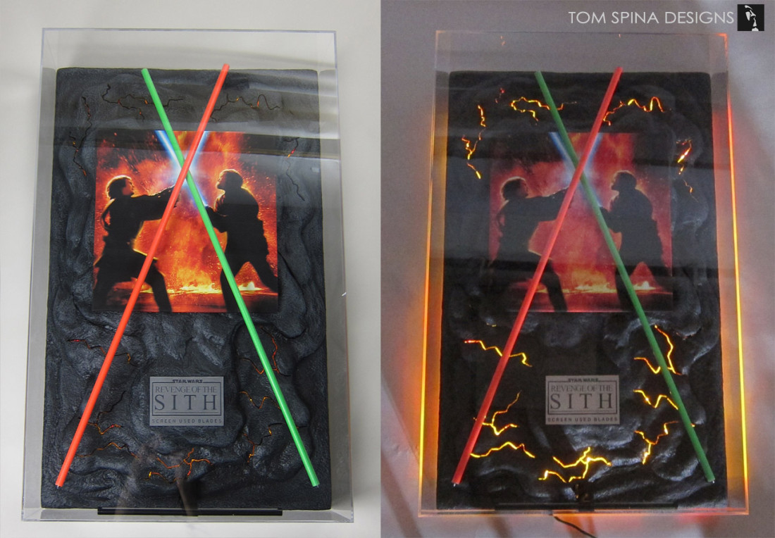Episode III / 3 Star Wars lightsaber props with custom acrylic display case for Star Wars collectibles