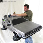 carved foam window display foam carved styrofoam Delorean time machine prop