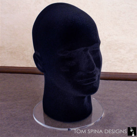 flocked display head styrofoam male head in black with round acrylic base