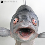 realistic Latex salmon puppet cartoonish