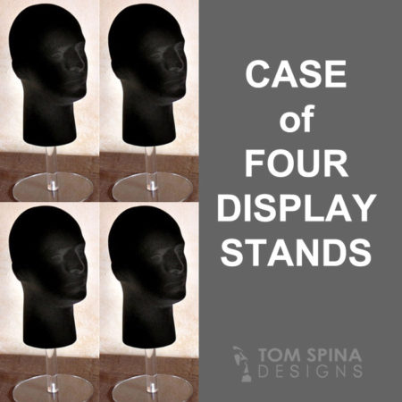 case of four display stands - wig heads with acrylic riser stands