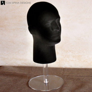 display stand - styrofoam male mannequin head in black with riser