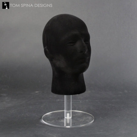helmet and mask stand with black wig head