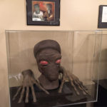 Duros alien mask and hands - mounting and display by Tom Spina Designs