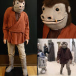 Snaggeltooth's original movie costume trousers and red shirt, on a custom mannequin.