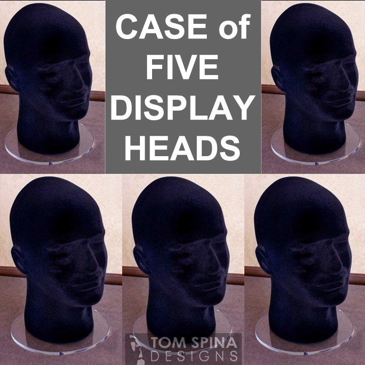 flocked display heads styrofoam male head in black with acrylic stand