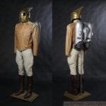 screen used Rocketeer costume with production pack and helmet made by the film's crew. Custom Mannequin by Tom Spina Designs