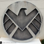 faux stone wall decor, themed SHIELD wall plaque