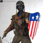 Captain America costume display and custom mannequin