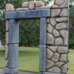 foam castle gate scenic prop for a museum exhibit