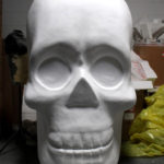 hand carved themed foam skull prop