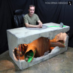 Hand sculpted custom office desk