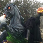 lifesized headless horseman and horse statue with pumpkin