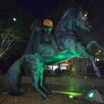lifesized headless horseman and horse statue
