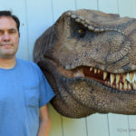 Scaled T-Rex Head Prop Bust with sculptor