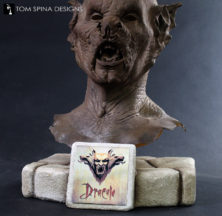 Custom hand carved foam display for Dracula movie prop