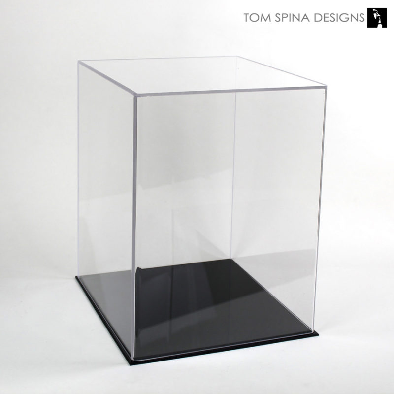 museum style acrylic display case with black base
