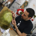 custom Grinch fur applied to makeup appliance
