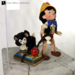 Pinocchio and Figaro Statues Display